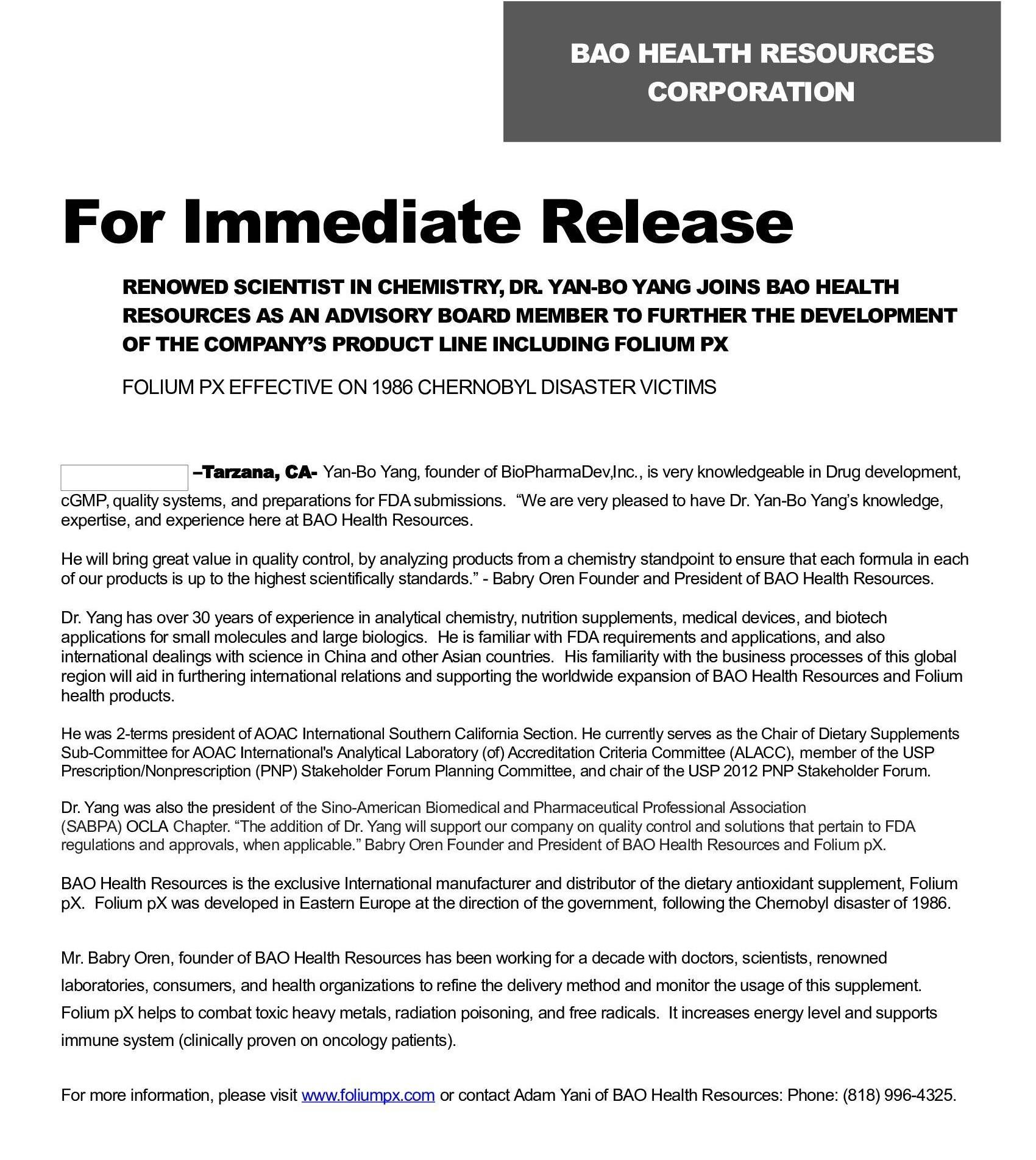 Press Release - Foliumpx